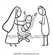 Mano Rivestire Disegno Cartone Animato Di Uno Jesu Archivio Illustrazioni
