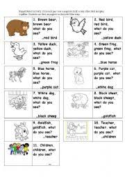 Brown Bear Brown Bear What Do You See Words English Worksheets Brown Bear Retell Popsicle Stick Puppets