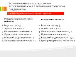 дипломная презентация по товароведению  7 ФОРМИРОВАНИЕ И ИССЛЕДОВАНИЯ АССОРТИМЕНТА ЧАЯ