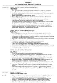Senior Quality Assurance Manager Resume Samples Velvet Jobs