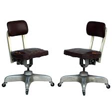 industrial office chair. Pair Of Aged Industrial Office Swivel Chairs For Sale Chair