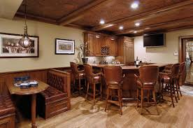 decoration: Attractive Home Basement Bar Ideas With Likeable Laminated Wood  Flooring And Agreeable Wood Bar