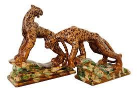 1940s Royal Haeger Glazed Ceramic Leopard Sculpture Pair