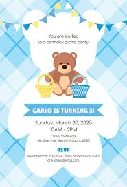 Free Teddy Bear Picnic Birthday Invitation Template In Adobe ...