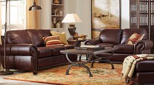 rooms to go leather sofa gabriello leather 7 pc sleeper living room leather living rooms brown
