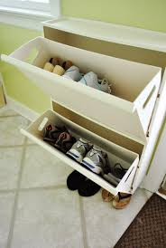 shallow shoe storage by the door