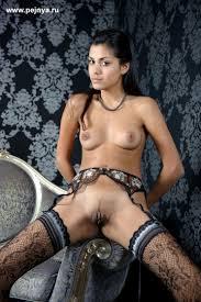 Brunette Black Babe Belinda A with Landing Strip Wearing Stockings.