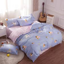 comforter bedding sets blue cartoon animals cat zipper duvet cover sets egyptian cotton bedding for childrens