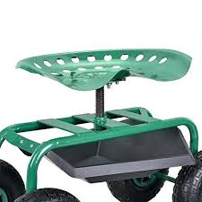 garden work seat rolling wheeled cart with tool tray stool for outdoor kneel easy