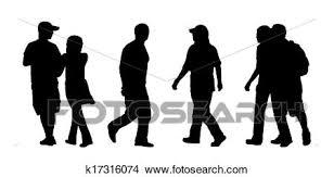 People Walking Outdoor Silhouettes Set 4 Stock Illustration