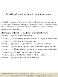 top8healthcareassistantresumesamples 150425021758 conversion gate02 thumbnail 4 jpg cb 1429946326