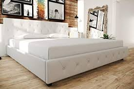 Amazon.com: White Faux Leather Upholstered Bed, Button Tufted ...