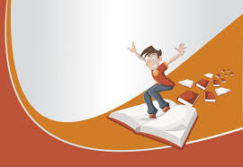 red and orange template with cartoon boy flying on big book vinyl wall mural education