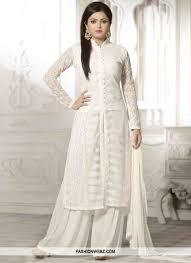 White Designer Outfits Fashionable Chicken Work Drashti Dhami Palazzo Style