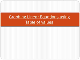 graphing linear equations using table of values n