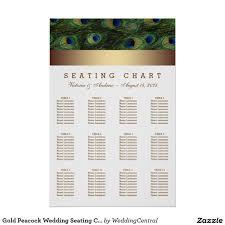 Gold Peacock Wedding Seating Chart Zazzle Co Uk Seating
