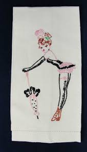 Pin Up Girl Embroidery Designs 1950s Burlesque Garter Hand Embroidered Linen Towel Hand