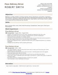 Pizza Delivery Resumes Pizza Delivery Driver Resume Samples Qwikresume