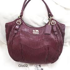 NWT COACH MADISON Large Gathered Leather Bordeaux Red ABIGAIL TOTE SHOULDER  BAG