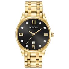 watches for men women wrist watches more from zales men s bulova diamond accent gold tone watch black dial model 97d108