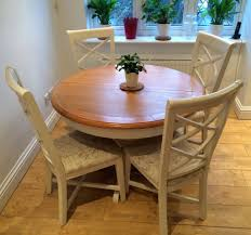 cargo hartham all wood extending round dining table and 4 chairs oak cream