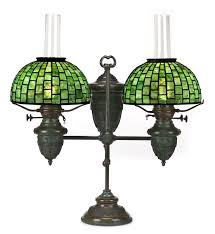 glass and bronze adjule moorish double student oil lamp dark brown green mottled patina base unsigned shades impressed studios new york