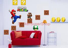 Mario Bros Bedroom Decor Choose Size Super Mario Bros Decal Removable Wall Sticker Vinyl