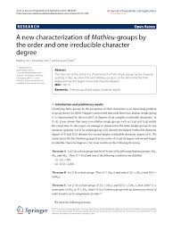 Pdf A New Characterization Of Mathieu Groups By The Order