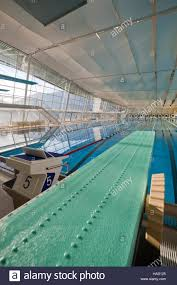 modern indoor swimming pool with green spring board stock image