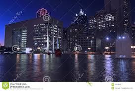 Downtown Dallas Purple Lights Dallas Skyline Nightly Light Reflections In Water Stock