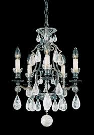 versailles rock crystal 5 light 110v chandelier in antique pewter with clear rock crystal