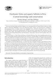 Pdf Freshwater Fishes And Aquatic Habitats In Peru Current