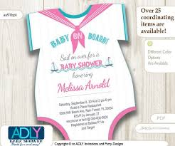 Onesie Baby Shower Invitations Nautical Pink Turquoise Grey Onesies Baby Shower Invitation To