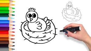 baby birds drawing for kids. Fine Baby How To Draw Baby Bird In Nest  Teach Drawing For Kids Toddlers Coloring  Page Video Throughout Birds For YouTube