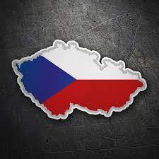 La bandiera della repubblica ceca è la stessa della bandiera dell'ex cecoslovacchia. Adesivo Mappa Bandiera Repubblica Ceca