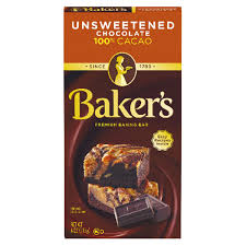 bakers premium unsweetened chocolate baking bar 4 oz