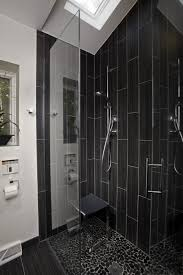Shower Design Bathroom Black Vertical Subway Tile Corner Shower Design With