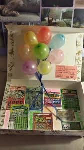 a box filled with lottery tickets and pop up balloons is a lucky gift idea for a 50th birthday see more 50th birthday gift ideas and party ideas at