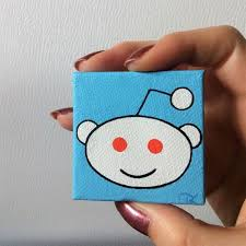 A page focused on positivity. Mini Canvas With Easel Reddit Snoo Alien Painting By Mlpaintings Mini Canvas Alien Painting Alien Art
