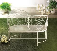 iron white wrought iron scroll work garden bench