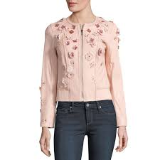elie tahari leather fl applique glenna jacket ballerina blush pink large