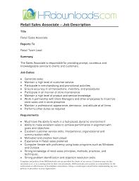 Retail Sales Associate Job Description For Resume Retail Sales Associate Cover Letter Resumessfranklinfireco 43