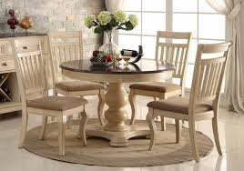 pieces transitional dark cherry wood classic round dining room tables with antique cream cherry upholstered