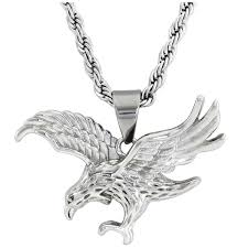 english laundry mens necklace silver necklace with silver eagle pendant