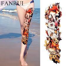 3d Watercolor Fox Rabbit Watercolor Tattoo Wolf Totem Women Full Legs Temporary Tattoo Stickers Men Shoulder Flash Fake Tatoos