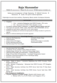 Model Resume For Freshers Mechanical Engineers Sample Resume