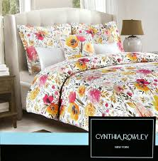 com cynthia rowley 3pc duvet cover set large flowers watercolor multicolored fl cotton queen home kitchen