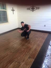 concrete floor that looks like wood planks