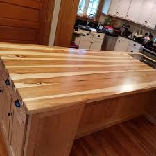 a bold hickory island top with sapwood and heartwood