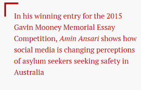 winning gavin mooney essay now published as let them stay   essay competition by amin ansari phd candidate at flinders university has now been published by online current affairs publication inside story